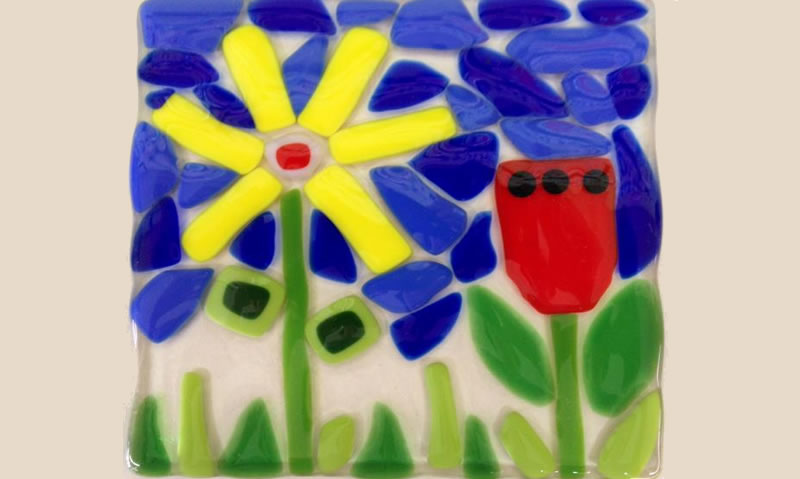 Spring themed fused glass project