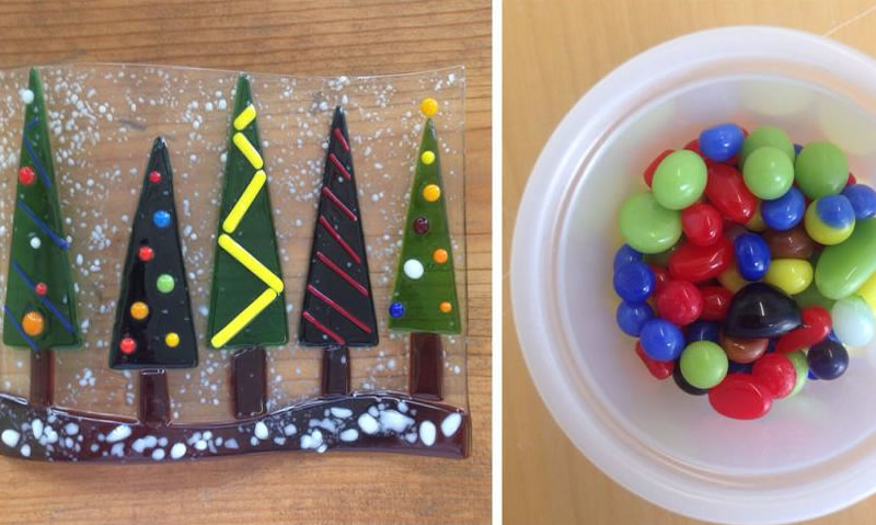 Holiday fused glass gifts